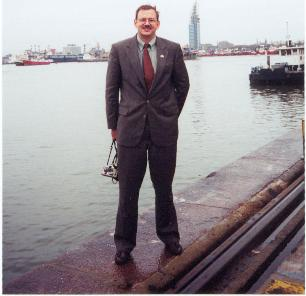 Bob King standing on pier at Montevideo Port